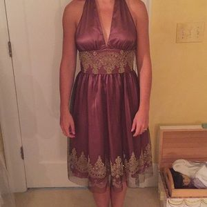 Mauve halter dress with gold detailing